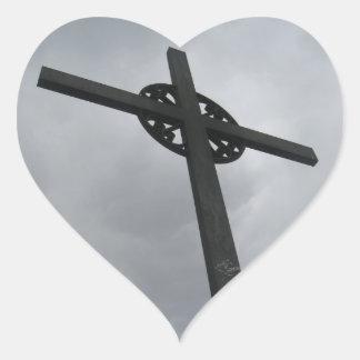 Heart Shaped Cross Sticker