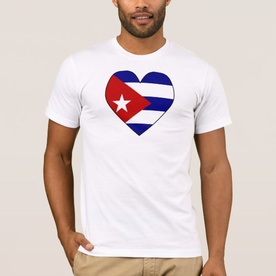 Heart-shaped Cuba Flag Valentine T-Shirt