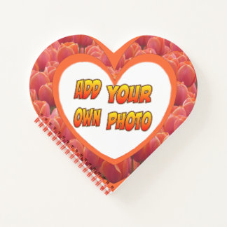 Heart Shaped Cust. Photo Red Tulips Notebook