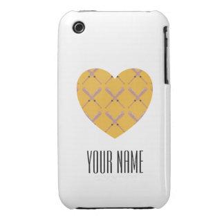 Heart Shaped Custom Baseball Bat Pattern iPhone 3 Case