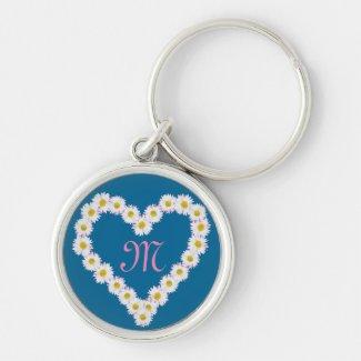 Heart-shaped Daisy Chain Monogrammed Keychain