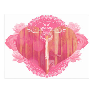 Heart Shaped Door with Skeleton Key Postcard