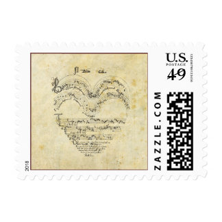 Heart-Shaped Early Music Manuscript Postage Stamp