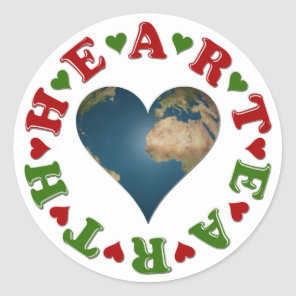Heart shaped Earth anagram Classic Round Sticker