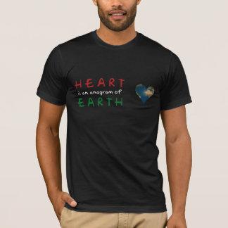 Heart shaped Earth anagram dark tshirt