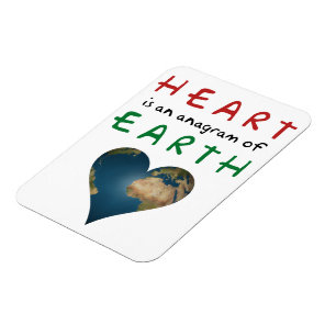 Heart Shaped Earth anagram Magnet