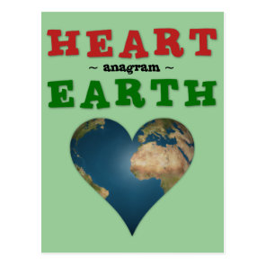 Heart Shaped Earth anagram Postcard