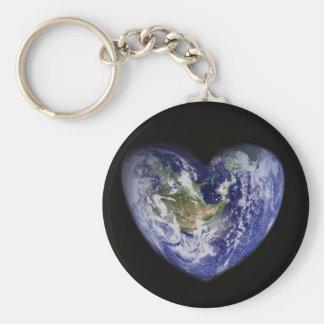 Heart-Shaped Earth Keychain