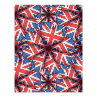 Heart Shaped England Flag Pattern Design Letterhead