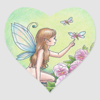 Heart-Shaped Fairy Sticker with Pink Pansies