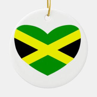 Heart Shaped Flag of Jamaica Ceramic Ornament