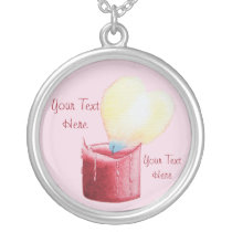 heart shaped flame red candle art silver plated necklace