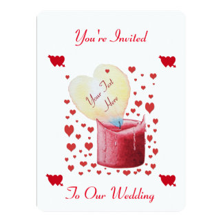 heart shaped flame romantic wedding design card