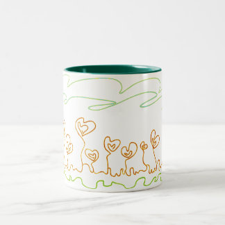 heart shaped flowers coffee mug