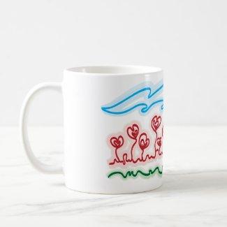 heart shaped flowers tea cup mug
