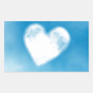 heart shaped fluffy cloud rectangular sticker