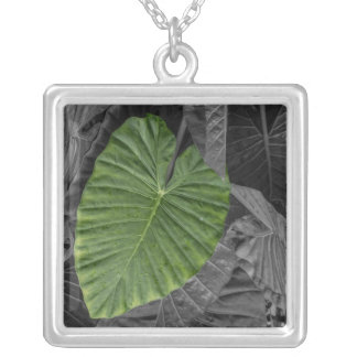 Heart Shaped Green Leaf Square Pendant Necklace