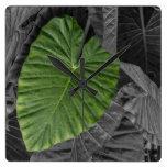 Heart Shaped Green Leaf Square Wallclocks
