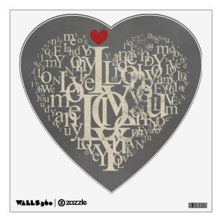 "Heart Shaped Grey ""I Love You"" Wall Sticker"