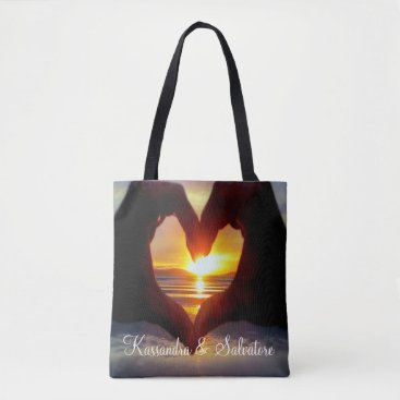 Beach Themed Heart Shaped Hands In The Sun Personalized Tote