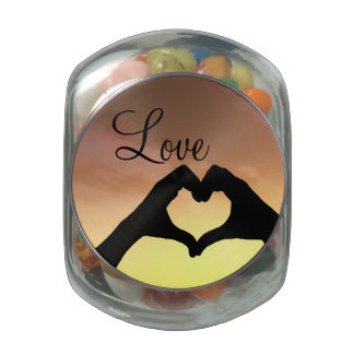 Heart Shaped Hands Silhouette Glass Candy Jar