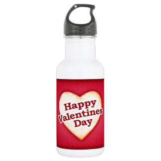Heart Shaped Happy Valentine Day Text Design 18oz Water Bottle