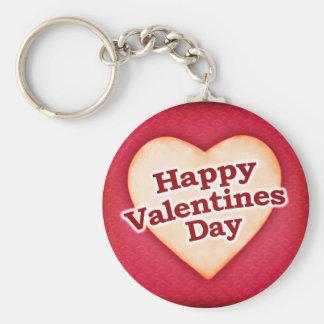 Heart Shaped Happy Valentine Day Text Design Keychain