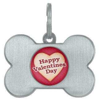 Heart Shaped Happy Valentine Day Text Design Pet ID Tag