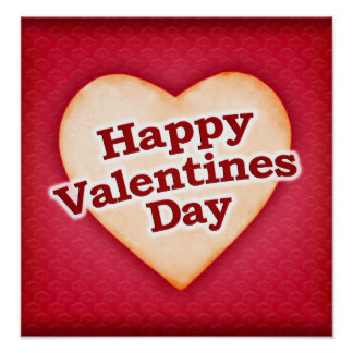 Heart Shaped Happy Valentine Day Text Design Poster