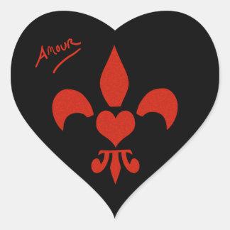 Heart Shaped Heart Fleur de Lis Amour Heart Sticker
