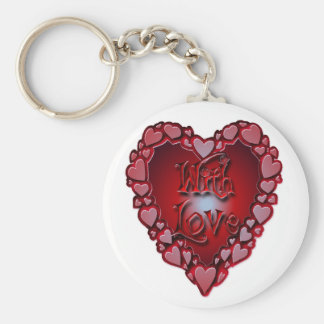 HEART SHAPED HEARTS WITH LOVE by SHARON SHARPE Keychain