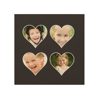 HEART Shaped Instagram Photo Frame Black Wood Print