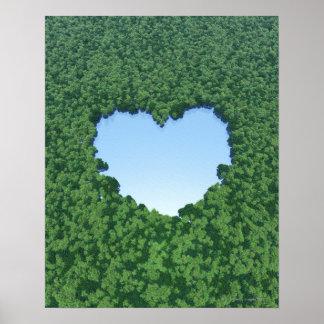 Heart-Shaped Lake Poster