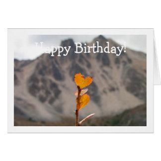 Heart-Shaped Leaf; Happy Birthday Card