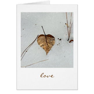 Heart-shaped Leaf in Snow - Love Card