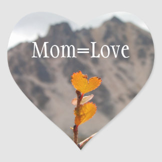 Heart-Shaped Leaf; Mother's Day Heart Sticker