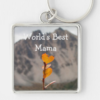 Heart-Shaped Leaf; Mother's Day Silver-Colored Square Keychain