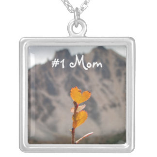 Heart-Shaped Leaf; Mother's Day Square Pendant Necklace