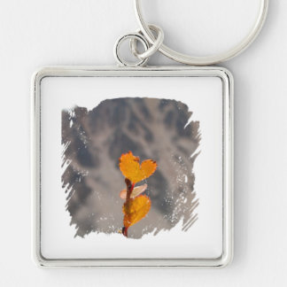Heart-Shaped Leaf Silver-Colored Square Keychain