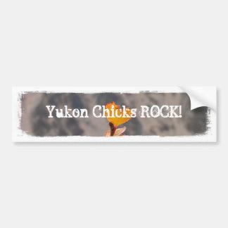 Heart-Shaped Leaf; Yukon Chicks ROCK Bumper Sticker