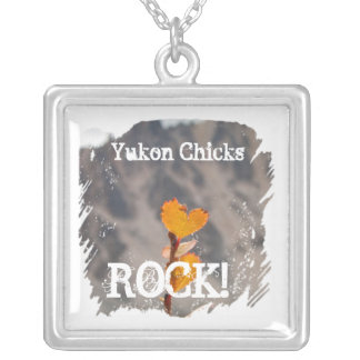 Heart-Shaped Leaf; Yukon Chicks ROCK Square Pendant Necklace