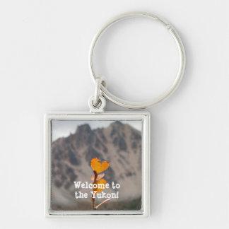 Heart-Shaped Leaf; Yukon Territory Souvenir Silver-Colored Square Keychain