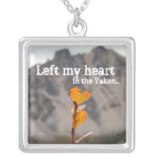 Heart-Shaped Leaf; Yukon Territory Souvenir Square Pendant Necklace