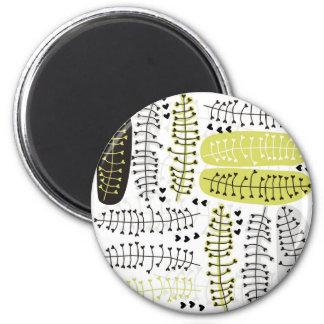 heart shaped leaves gray black green on white magnet