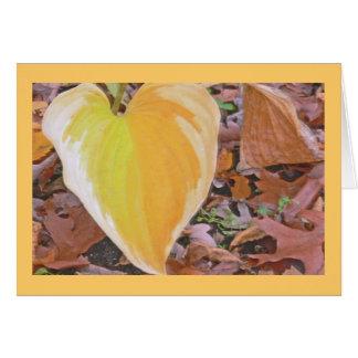 """HEART SHAPED, LIME-YELLOW & MARIGOLD HOSTA LEAF"" GREETING CARD"
