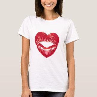 Heart shaped lips, lipstick traces, kiss T-Shirt