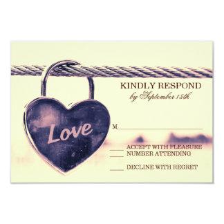 Heart Shaped Lock Love Wedding RSVP Cards