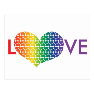 Heart Shaped LOVE in Rainbow colours Postcard