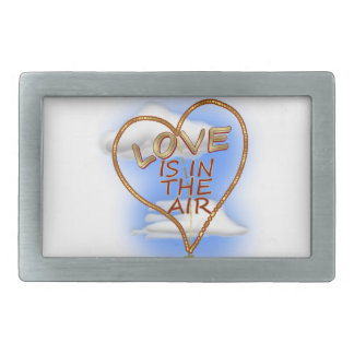 "Heart Shaped ""Love Is In The Air"" Rectangular Belt Buckles"