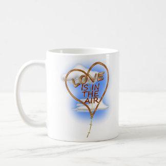"Heart Shaped ""Love Is In The Air"" Coffee Mug"